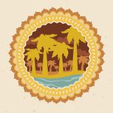 Retro labels with summer icons Stock Photos