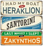Retro labels with towns in Greece Royalty Free Stock Photography
