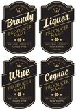 Retro labels for various alcoholic beverages. Vector set of four labels for various alcoholic beverages in the figured frame with crown and inscription on black Stock Photography