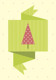Retro lable with Christmas tree. Colored illustration. EPS 10.0. RGB. Illustration can be used as template for events greeting cards or for holiday menus in Royalty Free Stock Photos