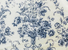 Retro Lace Floral Seamless Pattern Blue Fabric Background Stock Photo