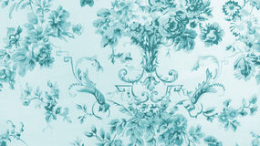 Retro Lace Floral Seamless Pattern on Blue Fabric Background Royalty Free Stock Photo