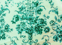 Retro Lace Floral Seamless Pattern Blue Sea Color Fabric Background Vintage Style Royalty Free Stock Image