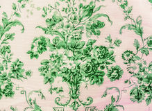 Retro Lace Floral Seamless Pattern Green Fabric Background Vintage Style Royalty Free Stock Photo