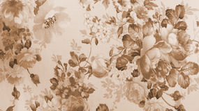 Retro Lace Floral Seamless Pattern Monotone Sepia Brown Fabric Background Royalty Free Stock Photography