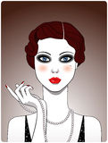 Retro lady. Portrait. Vector Illustration Royalty Free Stock Photo