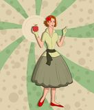 Retro lady with apple Royalty Free Stock Images
