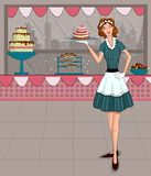 Retro lady in bakery shop Stock Photo