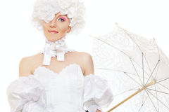 Retro lady bride, magic halloween carnival costume Royalty Free Stock Photos