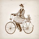 Retro lady cyclist vector illustration Royalty Free Stock Photography