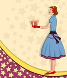 Retro lady with gift Royalty Free Stock Photos