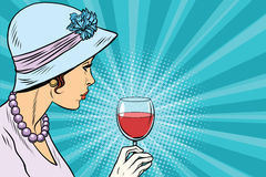 Retro lady with a glass of wine. Pop art vector illustration. Alcoholic beverages. Party in restaurant stock illustration