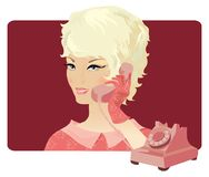 Retro lady making a call. Stylish retro lady making a call on old phone vector illustration