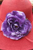Retro lady's hat. With fabric flower decoration - close up royalty free stock photos