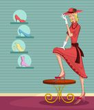 Retro lady in shoe store Stock Photo