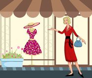 Retro lady shopping Royalty Free Stock Image