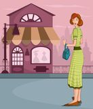 Retro lady shopping Stock Photography