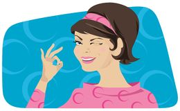 Retro lady showing OK. Smiling lady in the style of 70th showing OK Vector Illustration