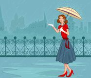 Retro lady with umbrella Royalty Free Stock Photos