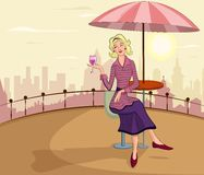 Retro lady with wine glass Royalty Free Stock Photo