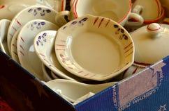 Retro lali herbaty set robić biała porcelana Set rocznik zabawki Fotografia Royalty Free
