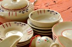 Retro lali herbaty set robić biała porcelana Set rocznik zabawki Obrazy Royalty Free