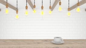 Retro lamp in a light modern kitchen. A cup of coffee on a wooden table. 3d rendering stock illustration
