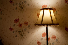 Retro lamp. Photo of a traditional lamp against floral wallpaper Royalty Free Stock Photos
