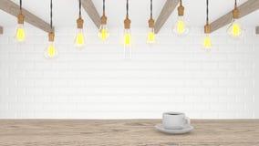 Retro lampa i ett ljust modernt kök En kopp av kaffe på en trätabell framförande 3d stock illustrationer