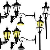 Retro lampada di via e lattern Fotografia Stock