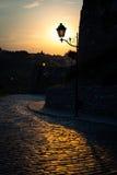 Retro lampada di via nel parco della città al tramonto di estate Immagine Stock Libera da Diritti