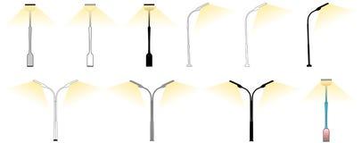 Retro lampade di via di vettore su bianco Fotografia Stock