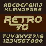 Retro lampasa abecadła wektorowa chrzcielnica Ostry pochylony typ listy, liczby i symbole, ilustracja wektor
