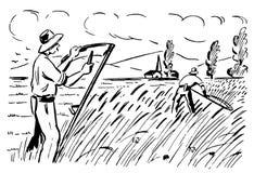 Retro landbouwers 01 stock illustratie