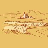 Retro landscapes. Russian village vector drawing. Stock Photos