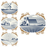 Retro landscapes vector illustration farm house agriculture graphic countryside scenic antique drawing. Royalty Free Stock Images