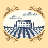 Retro landscapes vector illustration farm house agriculture graphic countryside scenic antique drawing. Stock Photography