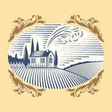 Retro landscapes vector illustration farm house agriculture graphic countryside scenic antique drawing. Royalty Free Stock Photography