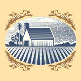Retro landscapes vector illustration farm house agriculture graphic countryside scenic antique drawing. Royalty Free Stock Photo