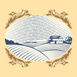 Retro landscapes vector illustration farm house agriculture graphic countryside scenic antique drawing. Royalty Free Stock Photos