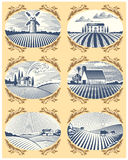 Retro landscapes vector illustration farm house and field agriculture graphic countryside scenic antique drawing. Retro landscapes vector illustration farm Royalty Free Stock Photography