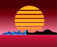Retro- Landschaft der Sonne 80s futuristisch Art des Sciencefictionshintergrundes 80s Passend für irgendein Druckdesign in der Ar vektor abbildung