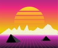 Retro- Landschaft der Sonne 80s futuristisch Art des Sciencefictionshintergrundes 80s Passend für irgendein Druckdesign in der Ar Lizenzfreies Stockfoto