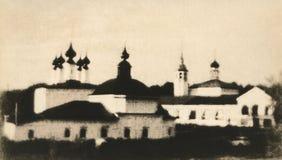 Retro landschap Oude Russische stad van Suzdal Stock Foto