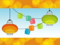 Retro lanterne di carta (vettore) Immagine Stock Libera da Diritti