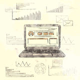 Retro Laptop with Grunge Finance Chart Old Paper. Background Vintage Graph Vector Illustration Royalty Free Stock Photo