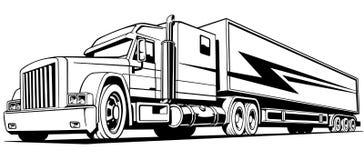 Retro lastbil som är stor på vägsymboltrans. Royaltyfri Foto