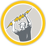 Retro lateral de Holding Lightning Bolt del electricista Fotos de archivo libres de regalías