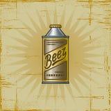 Retro latta di birra Fotografie Stock