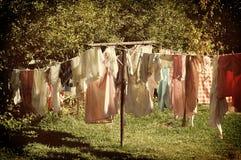 Retro Laundry Line Closeup Royalty Free Stock Photography